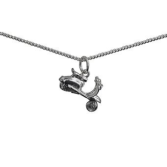 Silver 17x12mm Scooter Pendant with a curb Chain 24 inches