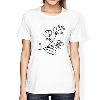 Flower Women's White Short Sleeve Graphic T Shirt For Flower Lovers