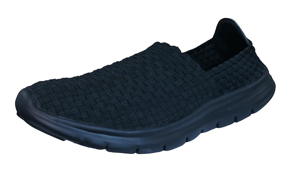 Air Tech Woven Pessoa Mens Slip On Woven Tech Trainers / Shoes - Black 8b0de6