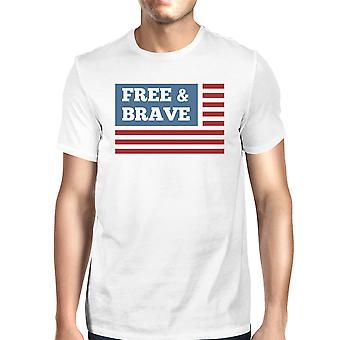 Gratis & dappere Amerikaanse vlag Amerikaanse vlag Shirt Mens wit katoenen Tshirt