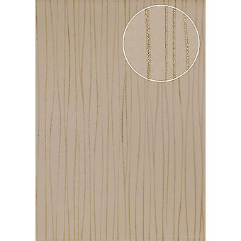 Stripes Atlas ICO-5077-3 non-woven wallpaper smooth design shimmering brown gold 7,035 m2