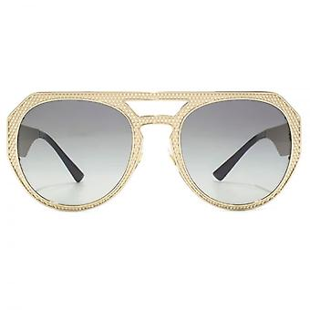 Versace Medusa Aviator Sunglasses In Pale Gold Grey Gradient