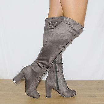 Koi Couture Ladies Grey Suede Knee High Boots