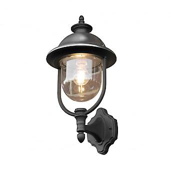 Konstsmide Parma Up Light Black With Stainless Steel Cap