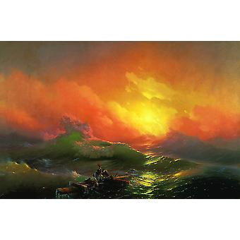 Ivan Hovhannes Aivazovsky - The Ninth Wave Poster Print Giclee