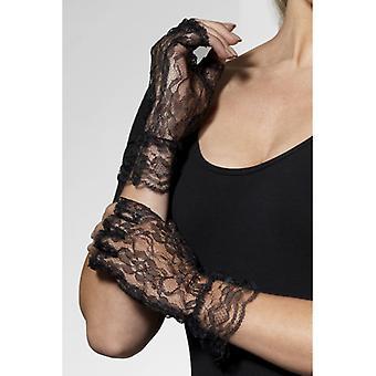 Macht handschoenen Black Lace Vingerloze handschoenen
