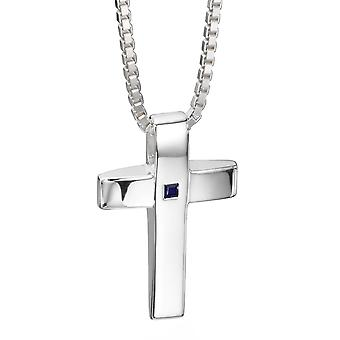 925 Silver Cross And Sapphire Necklace