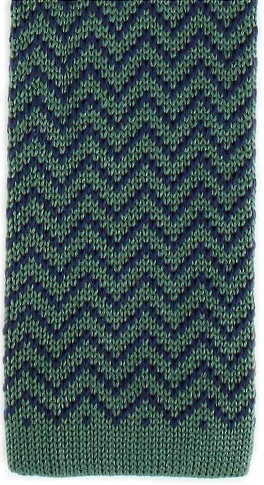 Michelsons of London Zig Zag Silk Knitted Skinny Tie - Green/Navy