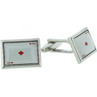 David Van Hagen Ace of Diamonds Cufflinks - White/Silver
