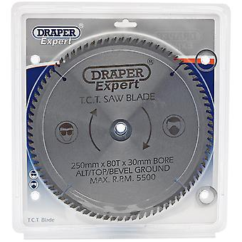 Draper 09489 Tct Circular Saw Blade 250 X 30Mm X 80T Fits Mitre And Table Saws
