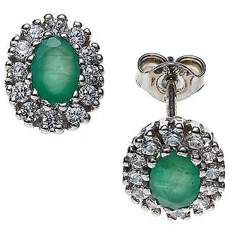 Emerald earrings 925 sterling silver rhodium plated 2 emeralds with cubic zirconia earrings silver