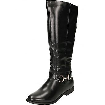 JWF sort flad læder stil spænde gjorden støvler