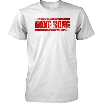 Efecto de bandera de Hong Kong Grunge país nombre - Mens T Shirt