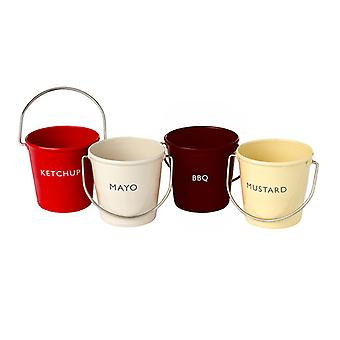 Eddingtons Ranch Condiments Buckets, Set of 4