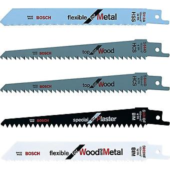BOSCH F016800307 RECIPROCATING BLADE SET 5PCE WOOD AND METAL