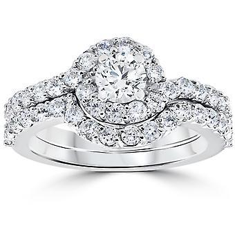 1 1 / 2ct Diamanten Engagement Halo Kurve Ring Set 10K Weißgold