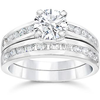 2 Carat Diamond Solitaire Engagement Ring Matching Wedding Band White Gold 14kt