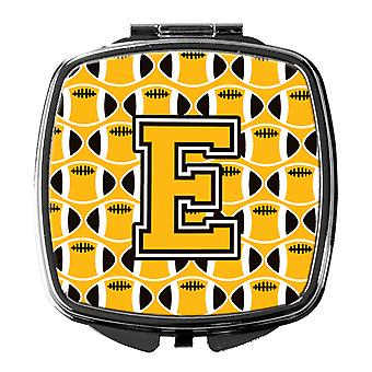 Letter E Football Black, Old Gold and White Compact Mirror