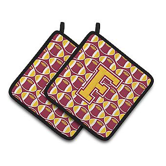 Letter F Football Maroon and Gold Pair of Pot Holders