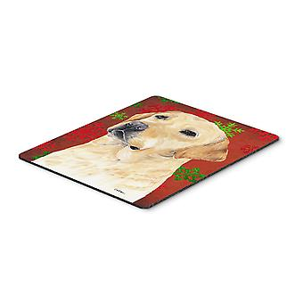 Labrador Red and Green Snowflakes Christmas Mouse Pad, Hot Pad or Trivet