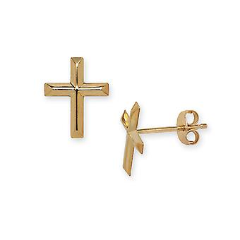 14k Yellow Gold Cross Stamping for boys or girls Earrings - Measures 10x8mm