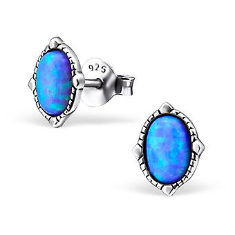 Oval - 925 Sterling Silver Opal and Semi Precious Ear Studs
