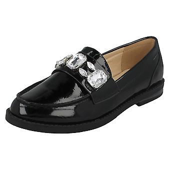 Ladies Spot On Jewel Trim Vamp Loafer Shoes F80311