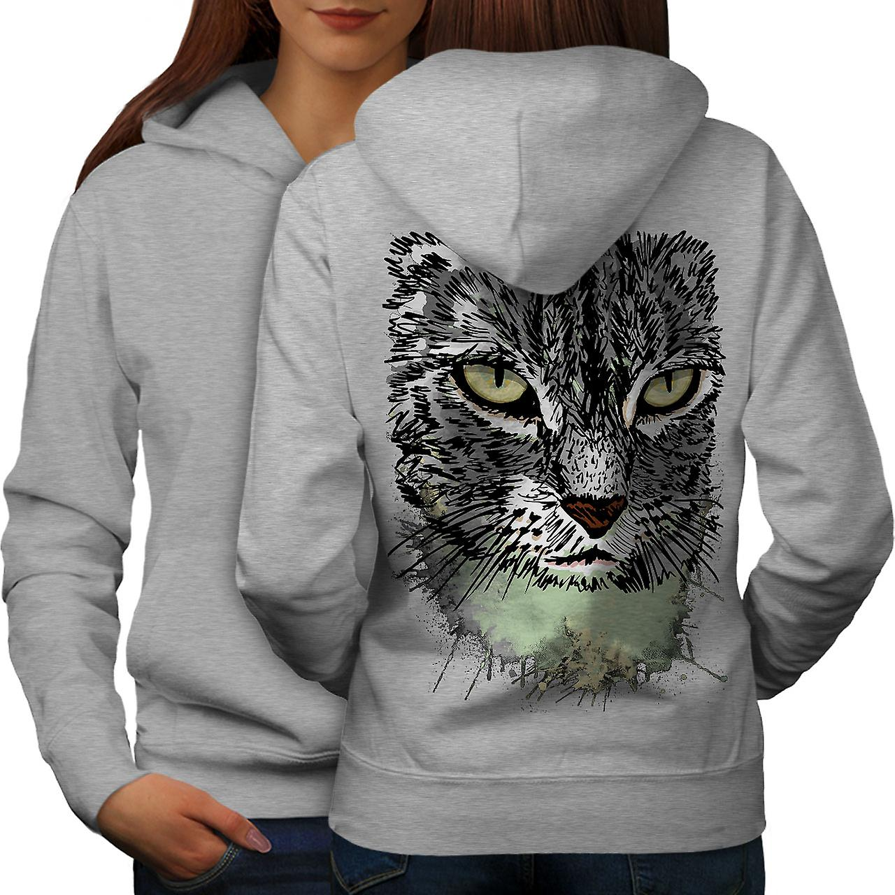 Peint Kitty Angry Cat femmes grisHoodie dos
