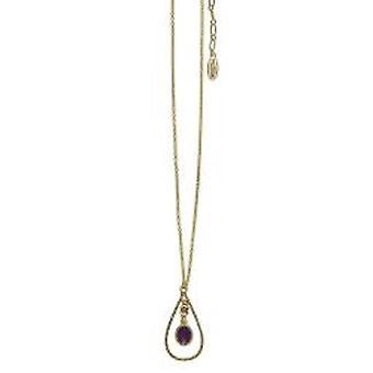 Pelgrim Damenkette bloem en parels paars/goud (525611)