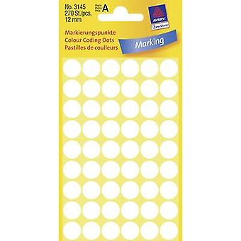 Avery-Zweckform 3145 Labels (hand writable) Ø 12 mm Paper White 270 pc(s) Permanent Sticky dots
