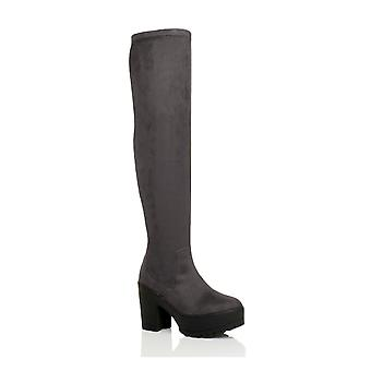 Ajvani womens over the knee thigh high chunky platform heel stretch boots