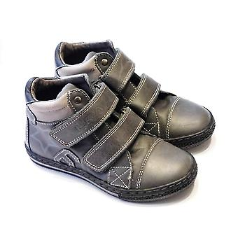 Boys Grey Leather Boots `with `double Velcro Strap | Lea Lelo