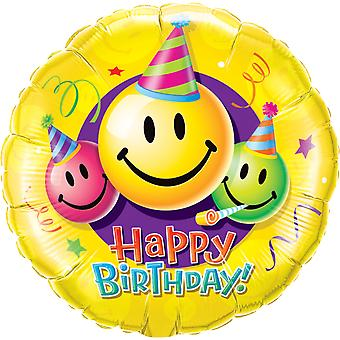 Foil balloon of happy birthday smiley about 45 cm