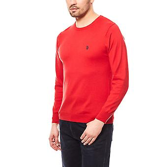 U.S. POLO ASSN. Round-neck men's sweater red cotton