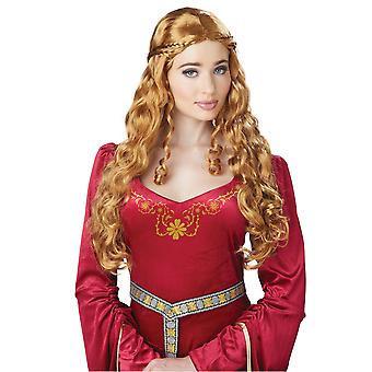 Lady Guinevere Renaissance Medieval Queen Ginger Orange Womens Costume Wig