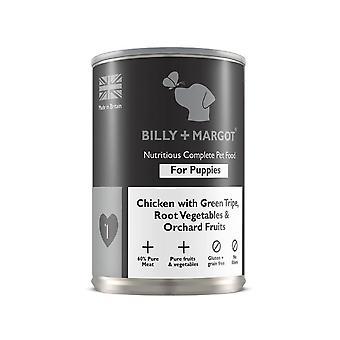 Billy + Margot Complete Wet Puppy  Dog Food Chicken & Tripe 395g x 12 Pack