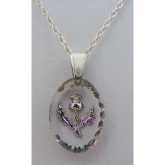 Heather Small Oval Thistle Crystal Pendant