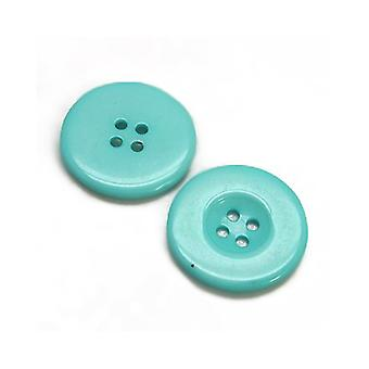 Packet 12 x Turquoise Resin 28mm Round 4-Holed Sew On Buttons HA10245