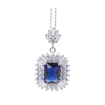 Silver cubic zirconia pendant with synthetic sapphire
