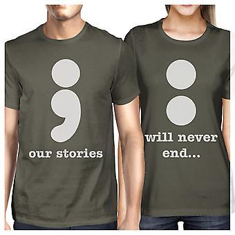 Nossas histórias nunca acabará casais bonitos combinando camisas em volta do pescoço
