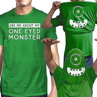 Fråga mig om min One Eyed Monster Tshirt Mens vit bomull Tee Shirt 52e8387f6ac09