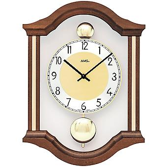 AMS 7447/1 wall clock quartz analog swing double pendulum wooden Walnut colours