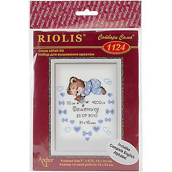 Boys Birth Announcement Counted Cross Stitch Kit-7.125