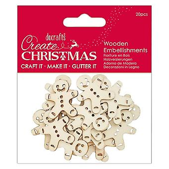 DoCrafts mini madera Gingerbread Men 20 Pack * * ^