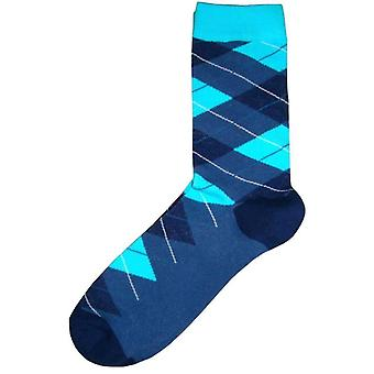 Bassin and Brown Argyle Socks - Navy/Blue/Turquoise