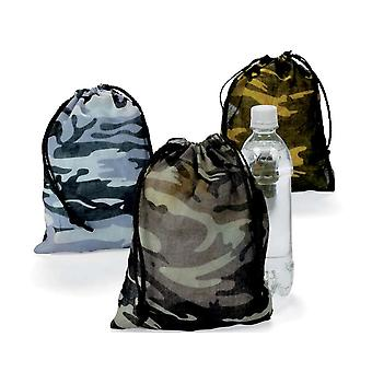 12 Polyester Kids Army Camouflage Print Drawstring Bags | Kids Party Loot Bags