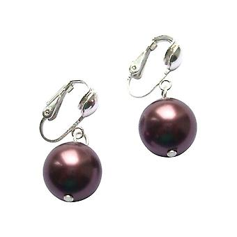 Gemshine - Damen - Ohrclips - Perlen - Tahiti - Braun - 925 Silber - 12 mm