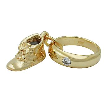 Trailer christening ring gold 375 followers baptism baby shoe, 9Kt GOLD
