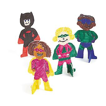 12 Unfinished Wood Superheros to Decorate - Kids Crafts