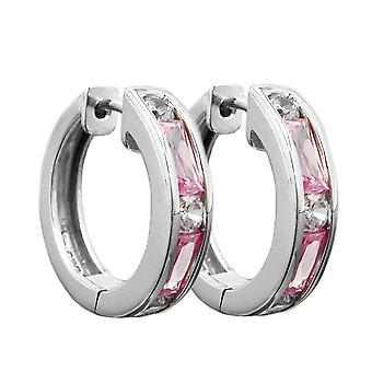 Runde Creolen silber glänzend Zirkonia weiss/pink Kreole Ohrring Silber 925